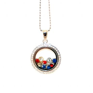 34mm living memory floating charm locket - rhodium plated with rhinestone